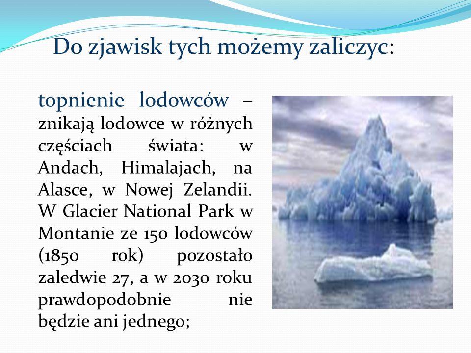 topnienie lodowców – znikają lodowce w różnych częściach świata: w Andach, Himalajach, na Alasce, w Nowej Zelandii. W Glacier National Park w Montanie