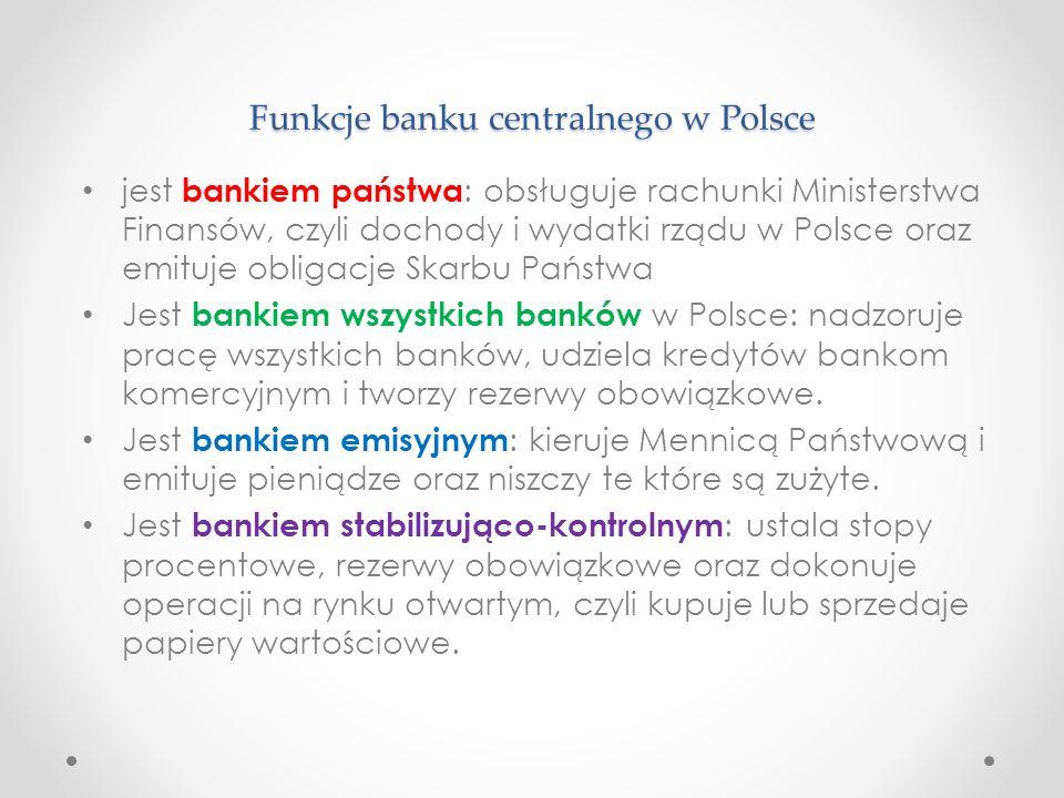 Funkcje banku centralnego w Polsce jest bankiem państwa : obsługuje rachunki Ministerstwa Finansów, czyli dochody i wydatki rządu w Polsce oraz emituj