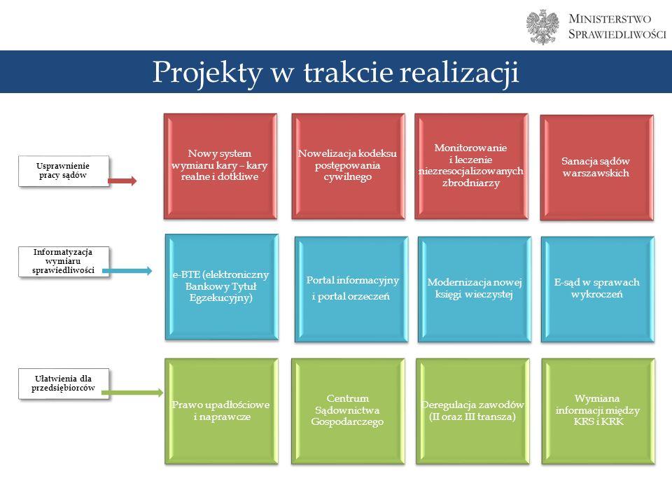 Projekty w trakcie realizacji Nowy system wymiaru kary – kary realne i dotkliwe Nowelizacja kodeksu postępowania cywilnego Monitorowanie i leczenie niezresocjalizowanych zbrodniarzy Sanacja sądów warszawskich e-BTE (elektroniczny Bankowy Tytuł Egzekucyjny) Portal informacyjny i portal orzeczeń Modernizacja nowej księgi wieczystej E-sąd w sprawach wykroczeń Prawo upadłościowe i naprawcze Centrum Sądownictwa Gospodarczego Deregulacja zawodów (II oraz III transza) Wymiana informacji między KRS i KRK Usprawnienie pracy sądów Informatyzacja wymiaru sprawiedliwości Ułatwienia dla przedsiębiorców