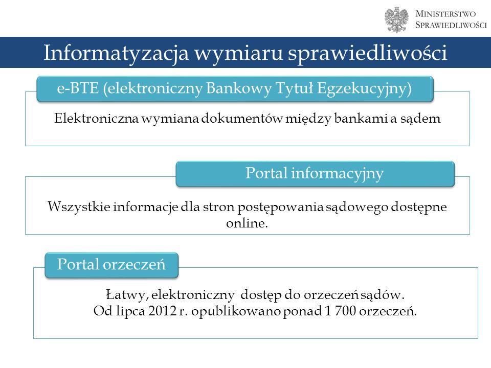 Elektroniczna wymiana dokumentów między bankami a sądem Wszystkie informacje dla stron postępowania sądowego dostępne online.