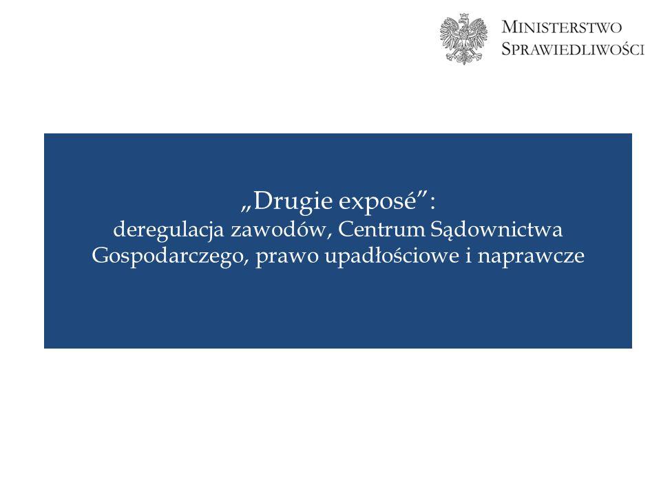 Drugie exposé: deregulacja zawodów, Centrum Sądownictwa Gospodarczego, prawo upadłościowe i naprawcze