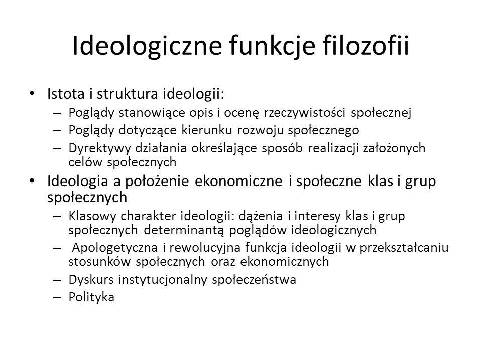 Ideologiczne funkcje filozofii Istota i struktura ideologii: – Poglądy stanowiące opis i ocenę rzeczywistości społecznej – Poglądy dotyczące kierunku