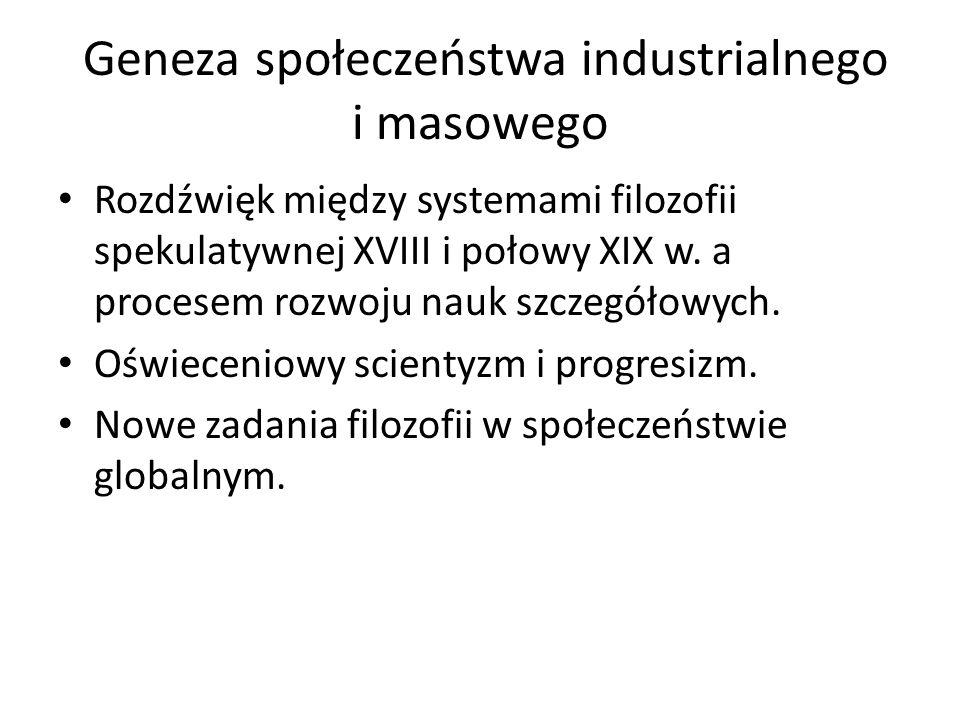 Geneza społeczeństwa industrialnego i masowego Rozdźwięk między systemami filozofii spekulatywnej XVIII i połowy XIX w. a procesem rozwoju nauk szczeg