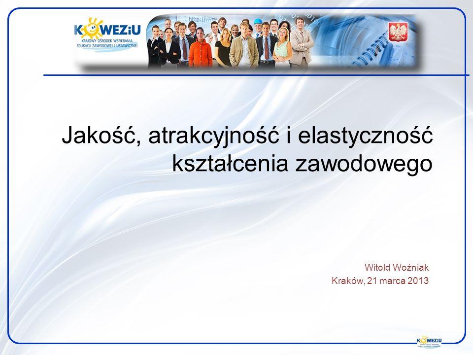 Jakość, atrakcyjność i elastyczność kształcenia zawodowego Witold Woźniak Kraków, 21 marca 2013