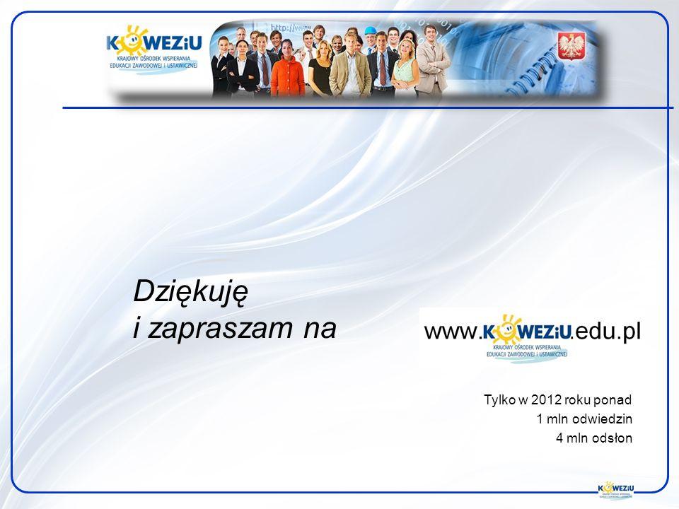 Dziękuję i zapraszam na Tylko w 2012 roku ponad 1 mln odwiedzin 4 mln odsłon