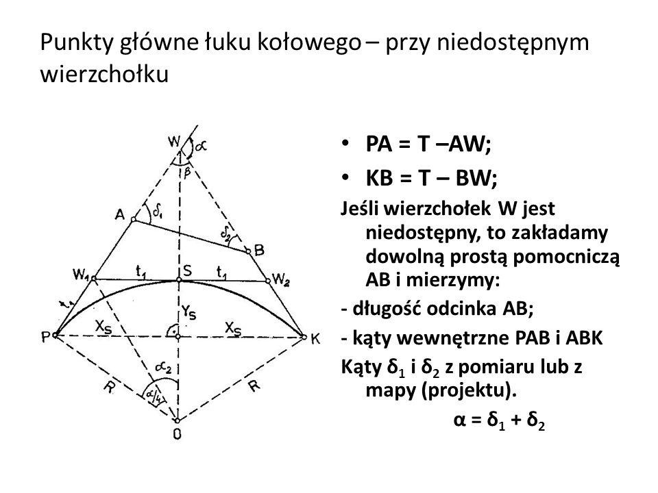 Punkty główne łuku kołowego – przy niedostępnym wierzchołku PA = T –AW; KB = T – BW; Jeśli wierzchołek W jest niedostępny, to zakładamy dowolną prostą pomocniczą AB i mierzymy: - długość odcinka AB; - kąty wewnętrzne PAB i ABK Kąty δ 1 i δ 2 z pomiaru lub z mapy (projektu).
