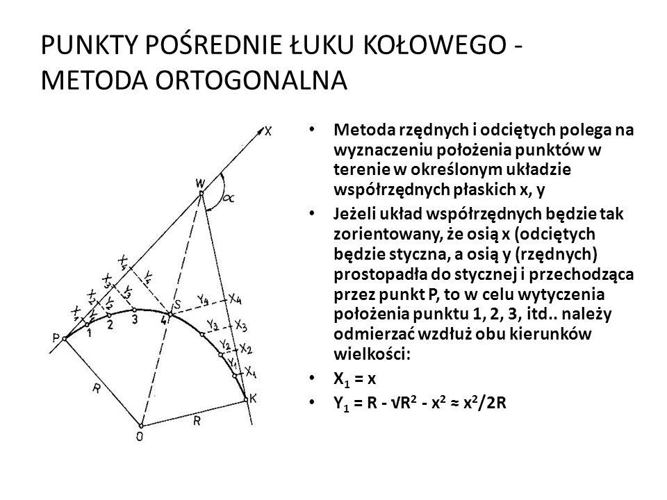 PUNKTY POŚREDNIE ŁUKU KOŁOWEGO - METODA ORTOGONALNA Metoda rzędnych i odciętych polega na wyznaczeniu położenia punktów w terenie w określonym układzie współrzędnych płaskich x, y Jeżeli układ współrzędnych będzie tak zorientowany, że osią x (odciętych będzie styczna, a osią y (rzędnych) prostopadła do stycznej i przechodząca przez punkt P, to w celu wytyczenia położenia punktu 1, 2, 3, itd..
