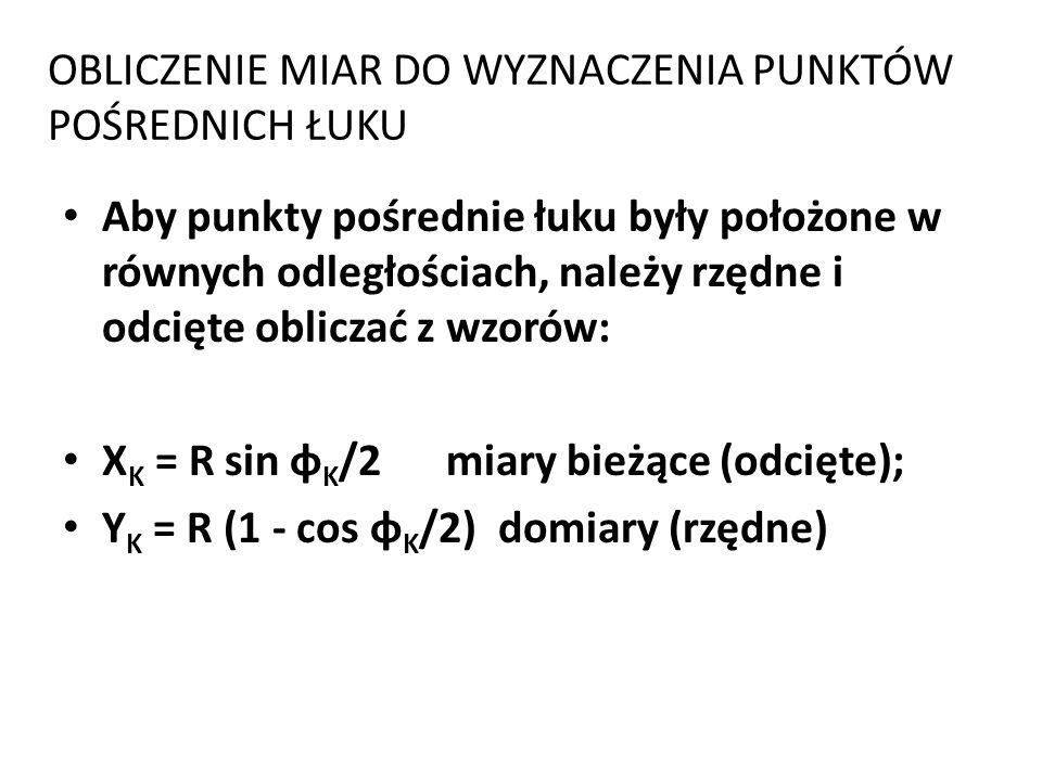 OBLICZENIE MIAR DO WYZNACZENIA PUNKTÓW POŚREDNICH ŁUKU Aby punkty pośrednie łuku były położone w równych odległościach, należy rzędne i odcięte obliczać z wzorów: X K = R sin φ K /2 miary bieżące (odcięte); Y K = R (1 - cos φ K /2) domiary (rzędne)