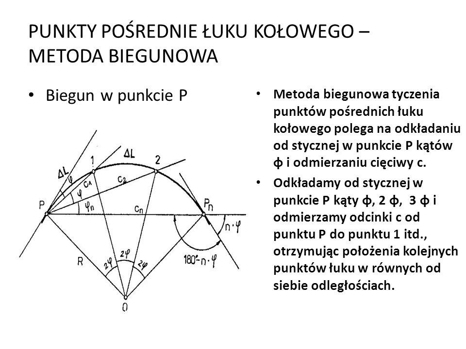 PUNKTY POŚREDNIE ŁUKU KOŁOWEGO – METODA BIEGUNOWA Biegun w punkcie P Metoda biegunowa tyczenia punktów pośrednich łuku kołowego polega na odkładaniu od stycznej w punkcie P kątów φ i odmierzaniu cięciwy c.