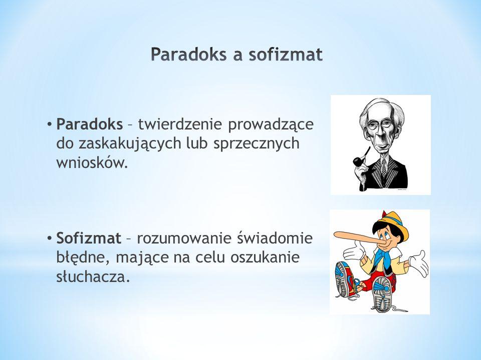 Paradoks – twierdzenie prowadzące do zaskakujących lub sprzecznych wniosków. Sofizmat – rozumowanie świadomie błędne, mające na celu oszukanie słuchac