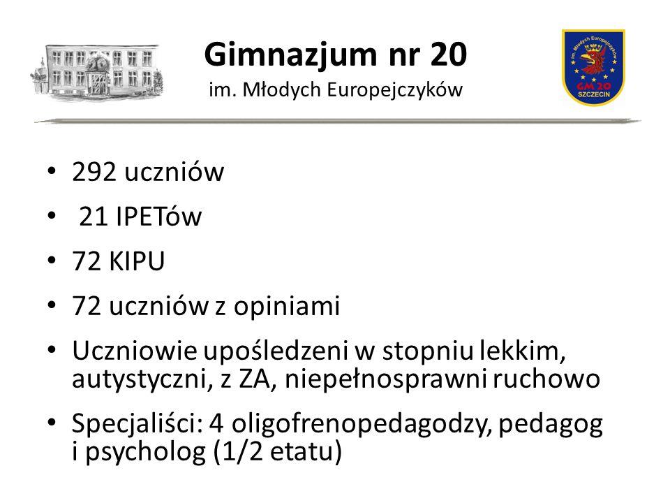 Gimnazjum nr 20 im. Młodych Europejczyków 292 uczniów 21 IPETów 72 KIPU 72 uczniów z opiniami Uczniowie upośledzeni w stopniu lekkim, autystyczni, z Z