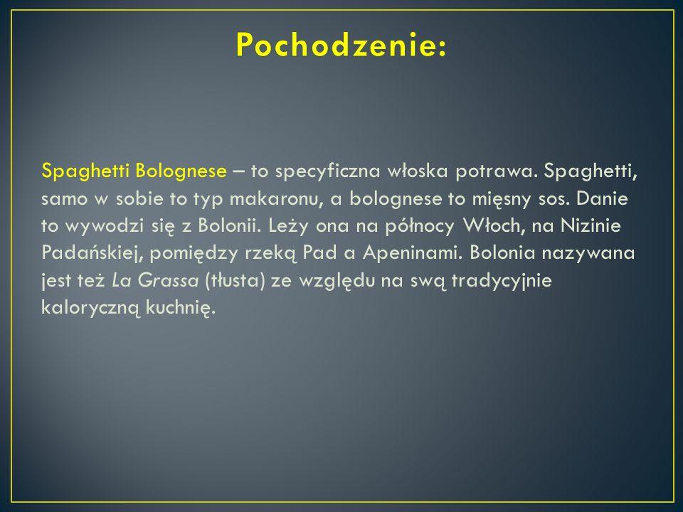 Spaghetti Bolognese – to specyficzna włoska potrawa. Spaghetti, samo w sobie to typ makaronu, a bolognese to mięsny sos. Danie to wywodzi się z Boloni