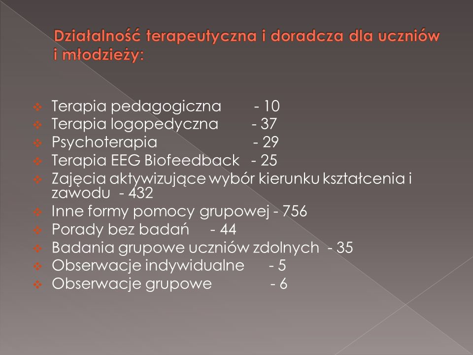 Terapia pedagogiczna - 10 Terapia logopedyczna - 37 Psychoterapia - 29 Terapia EEG Biofeedback - 25 Zajęcia aktywizujące wybór kierunku kształcenia i