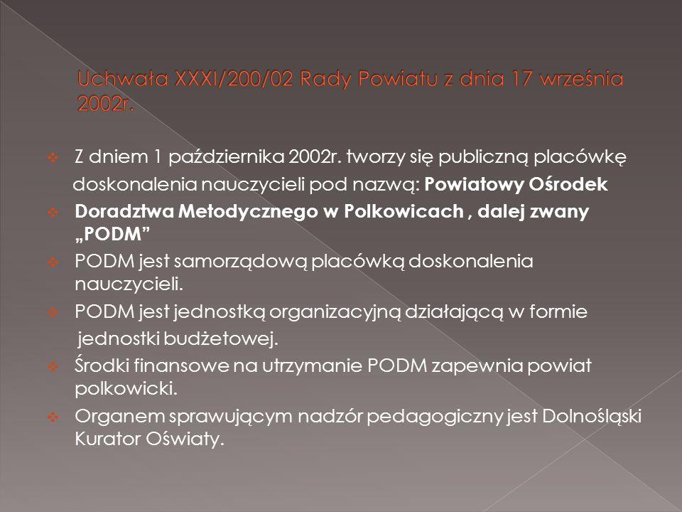 Z dniem 1 października 2002r. tworzy się publiczną placówkę doskonalenia nauczycieli pod nazwą: Powiatowy Ośrodek Doradztwa Metodycznego w Polkowicach