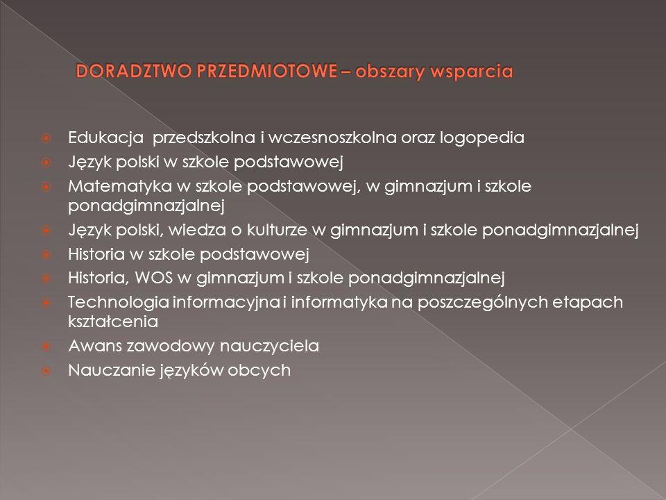 Edukacja przedszkolna i wczesnoszkolna oraz logopedia Język polski w szkole podstawowej Matematyka w szkole podstawowej, w gimnazjum i szkole ponadgim