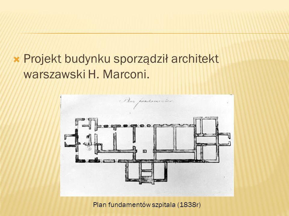 Projekt budynku sporządził architekt warszawski H. Marconi. Plan fundamentów szpitala (1838r)