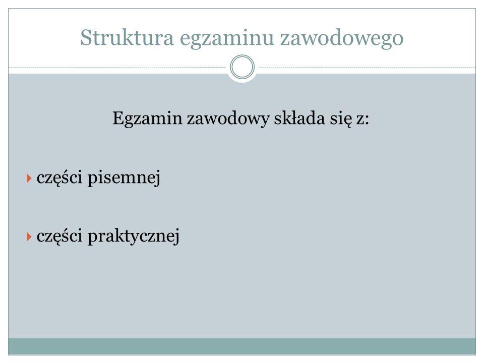 Struktura egzaminu zawodowego Egzamin zawodowy składa się z: części pisemnej części praktycznej