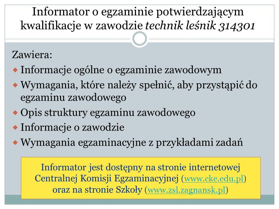 Informator o egzaminie potwierdzającym kwalifikacje w zawodzie technik leśnik 314301 Zawiera: Informacje ogólne o egzaminie zawodowym Wymagania, które