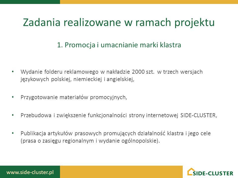 www.side-cluster.pl Organizacja dwóch jednodniowych seminariów zawierających panele poświęcone współpracy trójsektorowej, funkcjonowaniu klastrów w Europie, pobudzeniu do internacjonalizacji, rozwoju przedsiębiorczości w UE – aktualnych trendów i perspektyw na przyszłość, technologii budownictwa ekologicznego.