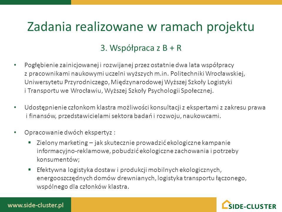 www.side-cluster.pl Zadania realizowane w ramach projektu 3. Współpraca z B + R Pogłębienie zainicjowanej i rozwijanej przez ostatnie dwa lata współpr