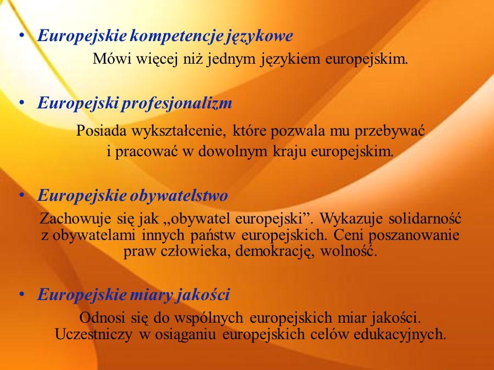 Europejskie kompetencje językowe Mówi więcej niż jednym językiem europejskim. Europejski profesjonalizm Posiada wykształcenie, które pozwala mu przeby