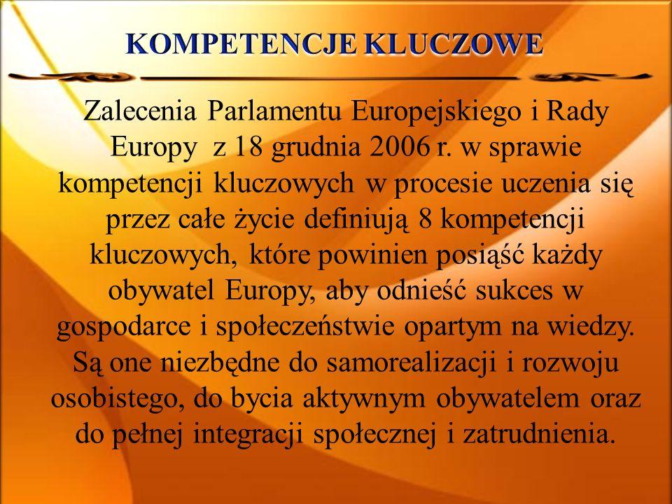 Zalecenia Parlamentu Europejskiego i Rady Europy z 18 grudnia 2006 r. w sprawie kompetencji kluczowych w procesie uczenia się przez całe życie definiu
