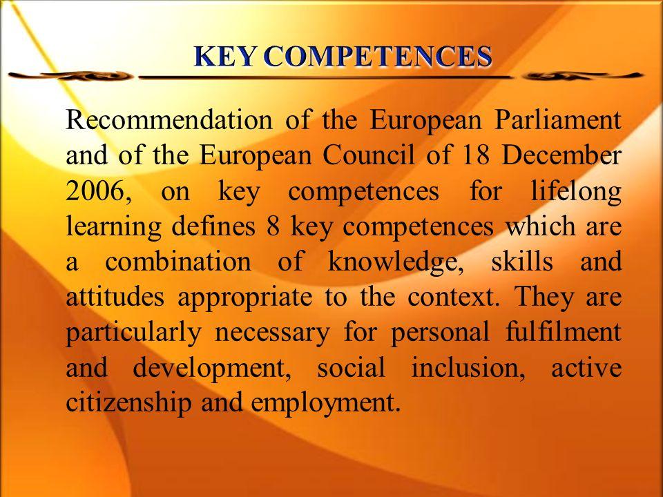 umiejętność uczenia się porozumiewanie się w języku ojczystym porozumiewanie się w językach obcych kompetencje matematyczne oraz podstawowe kompetencje naukowo-techniczne kompetencje informatyczne kompetencje społeczne i obywatelskie inicjatywność i przedsiębiorczość świadomość i ekspresja kulturalna
