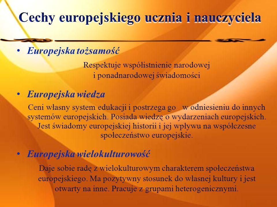 Europejska tożsamość Respektuje współistnienie narodowej i ponadnarodowej świadomości Europejska wiedza Ceni własny system edukacji i postrzega go w odniesieniu do innych systemów europejskich.