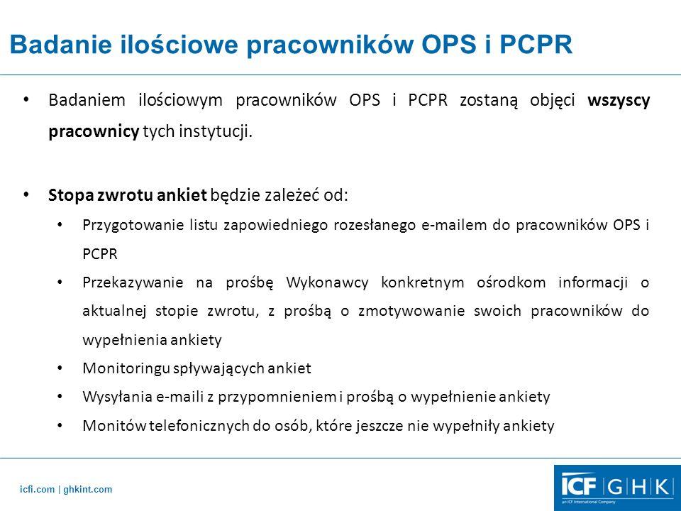 icfi.com   ghkint.com Badanie ilościowe pracowników OPS i PCPR Badaniem ilościowym pracowników OPS i PCPR zostaną objęci wszyscy pracownicy tych instytucji.