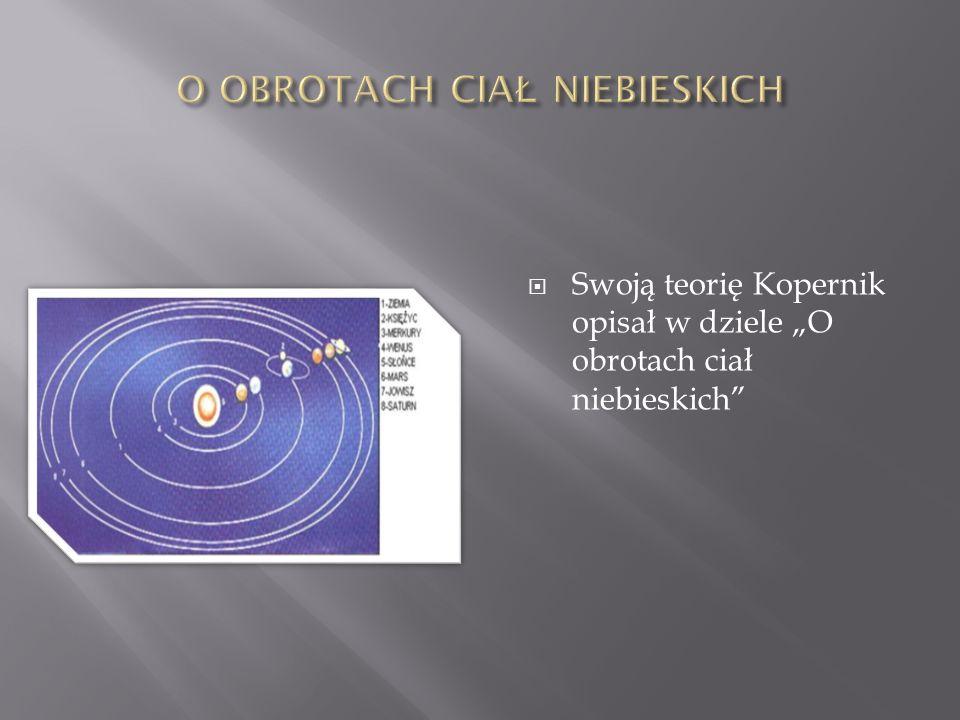 Swoją teorię Kopernik opisał w dziele O obrotach ciał niebieskich