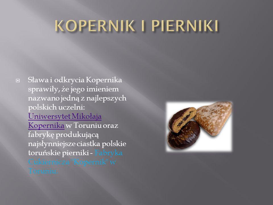 Sława i odkrycia Kopernika sprawiły, że jego imieniem nazwano jedną z najlepszych polskich uczelni: Uniwersytet Mikołaja Kopernika w Toruniu oraz fabrykę produkującą najsłynniejsze ciastka polskie toruńskie pierniki - Fabryka Cukiernicza Kopernik w Toruniu.