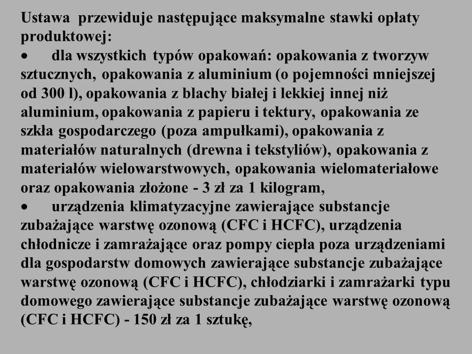 Ustawa przewiduje następujące maksymalne stawki opłaty produktowej: dla wszystkich typów opakowań: opakowania z tworzyw sztucznych, opakowania z alumi