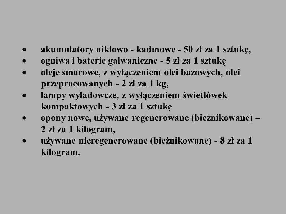 akumulatory niklowo - kadmowe - 50 zł za 1 sztukę, ogniwa i baterie galwaniczne - 5 zł za 1 sztukę oleje smarowe, z wyłączeniem olei bazowych, olei pr
