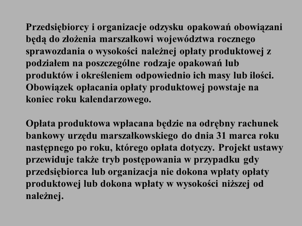 Przedsiębiorcy i organizacje odzysku opakowań obowiązani będą do złożenia marszałkowi województwa rocznego sprawozdania o wysokości należnej opłaty pr
