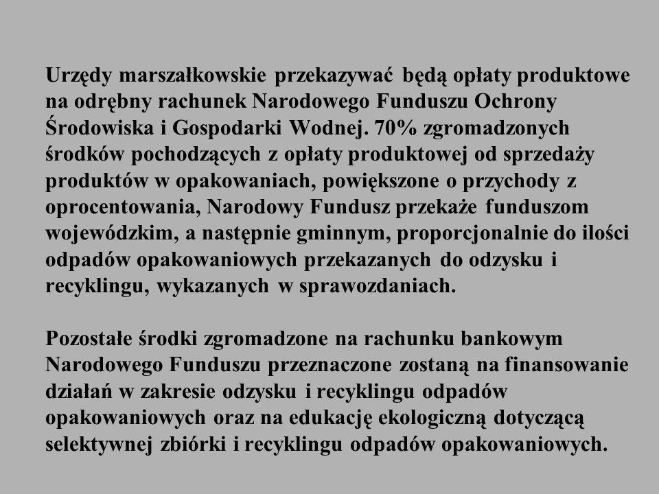 Urzędy marszałkowskie przekazywać będą opłaty produktowe na odrębny rachunek Narodowego Funduszu Ochrony Środowiska i Gospodarki Wodnej. 70% zgromadzo