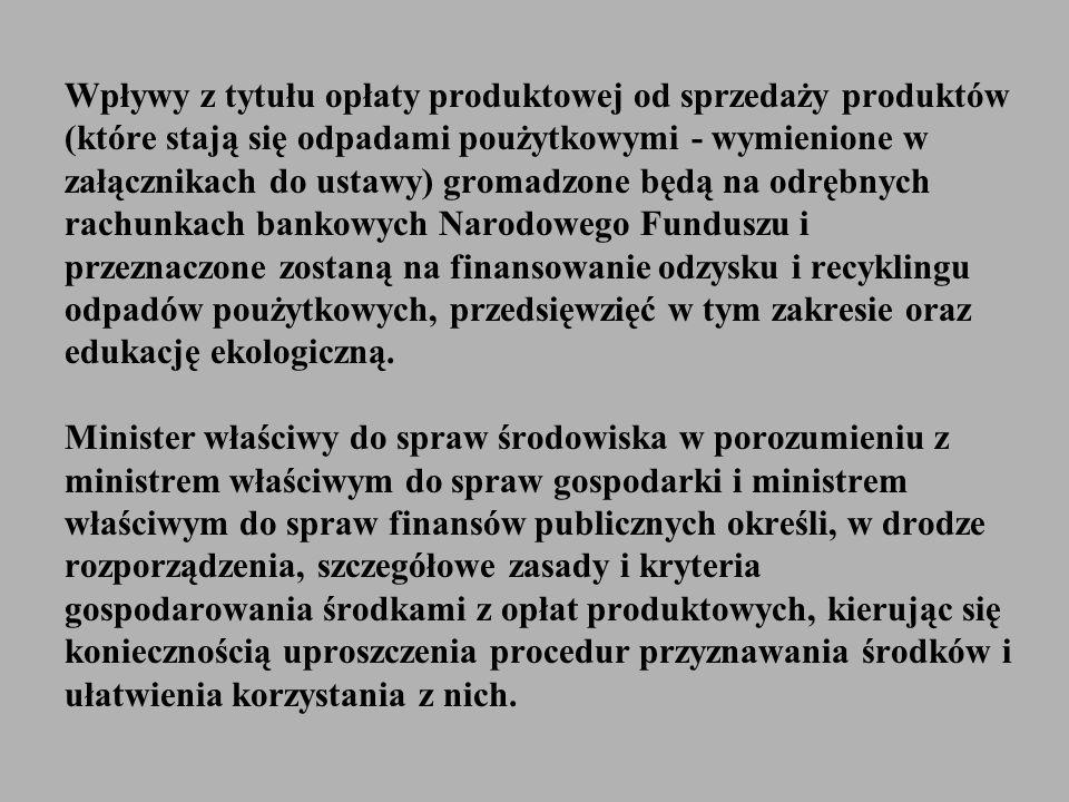 Wpływy z tytułu opłaty produktowej od sprzedaży produktów (które stają się odpadami poużytkowymi - wymienione w załącznikach do ustawy) gromadzone będ