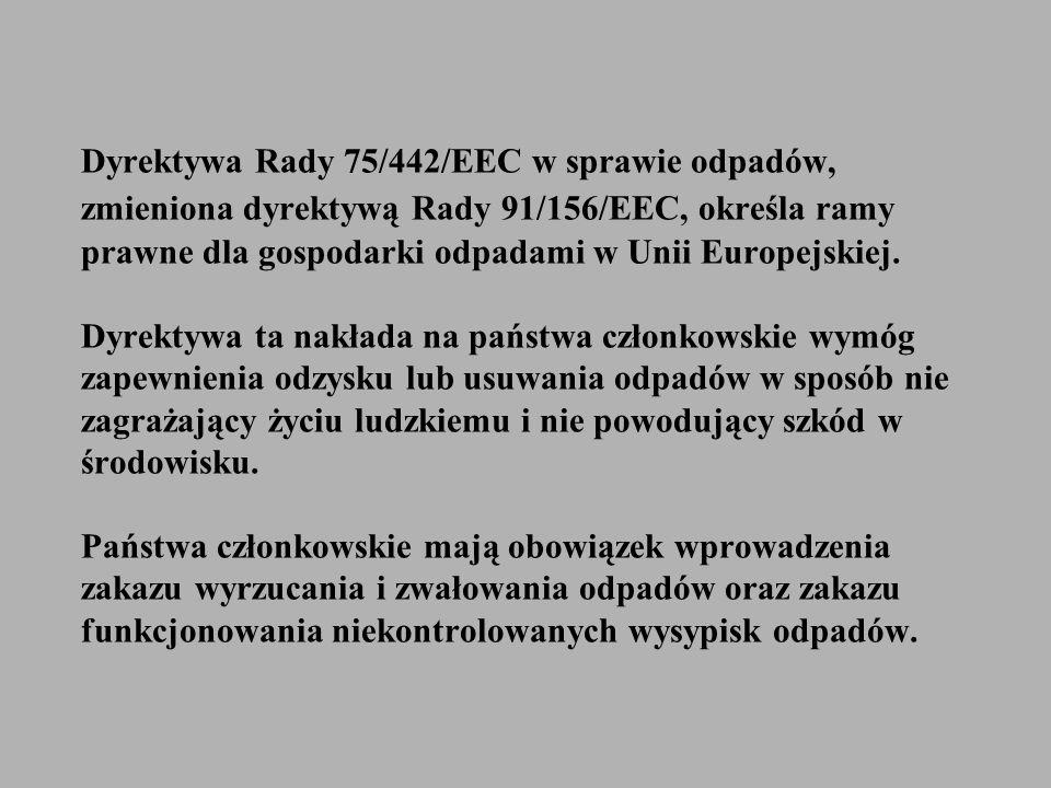 Dyrektywa Rady 75/442/EEC w sprawie odpadów, zmieniona dyrektywą Rady 91/156/EEC, określa ramy prawne dla gospodarki odpadami w Unii Europejskiej. Dyr