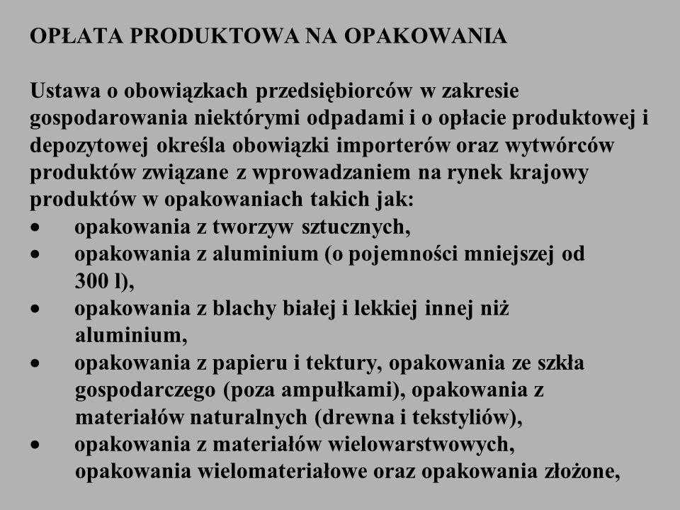 OPŁATA PRODUKTOWA NA OPAKOWANIA Ustawa o obowiązkach przedsiębiorców w zakresie gospodarowania niektórymi odpadami i o opłacie produktowej i depozytow