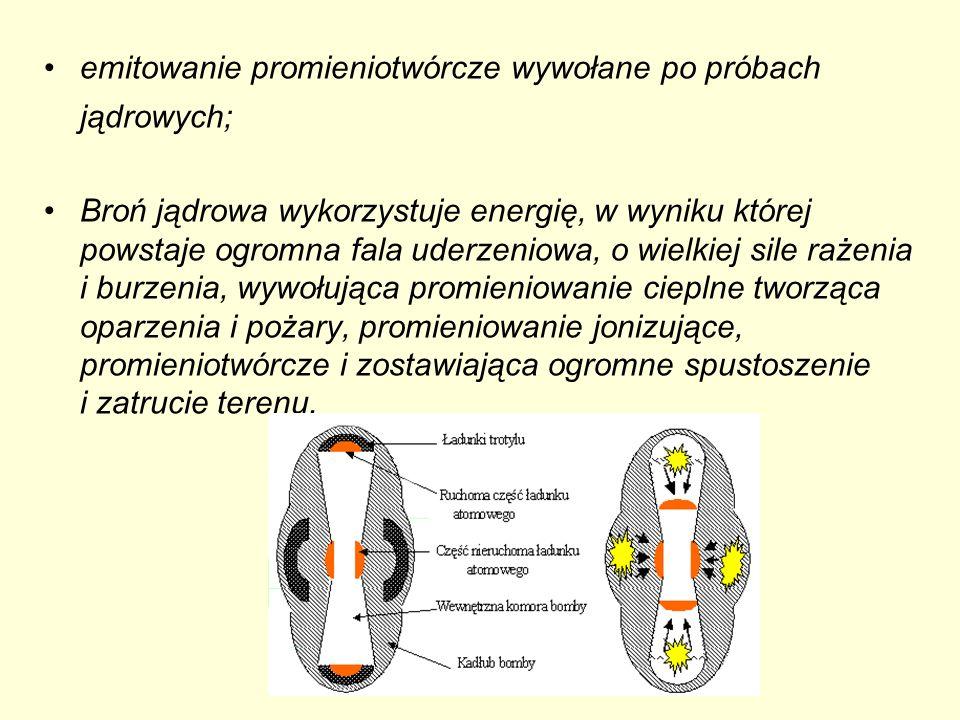 emitowanie promieniotwórcze wywołane po próbach jądrowych; Broń jądrowa wykorzystuje energię, w wyniku której powstaje ogromna fala uderzeniowa, o wie