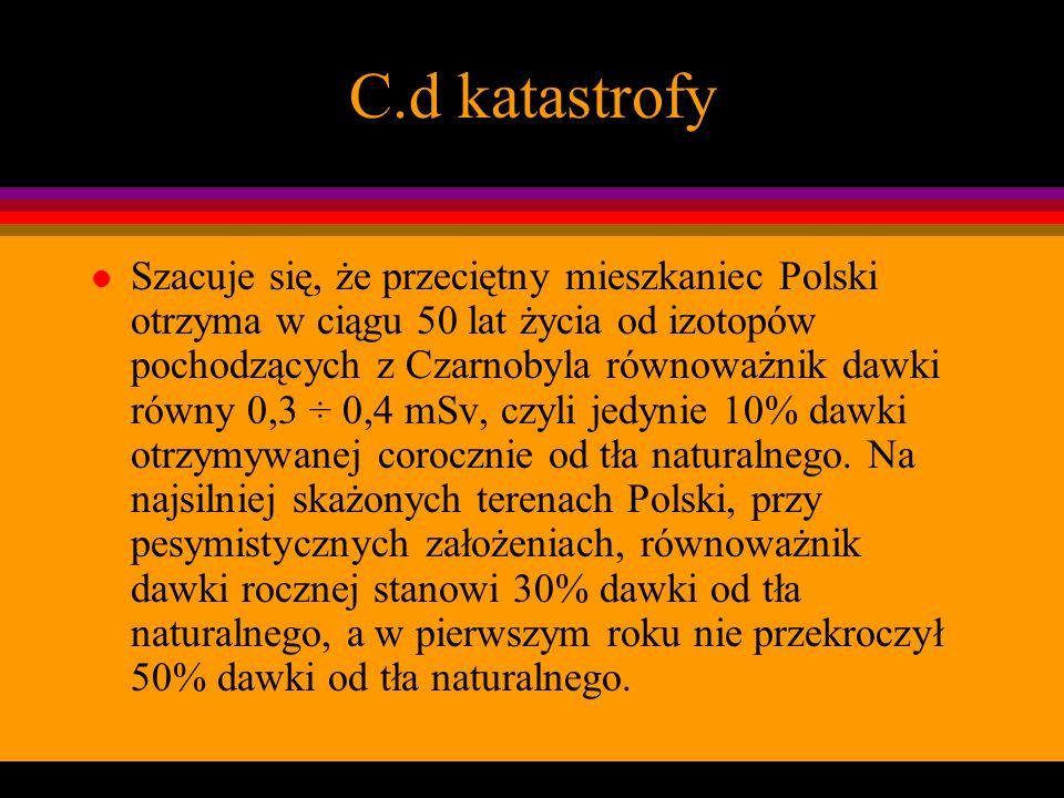 C.d katastrofy l Szacuje się, że przeciętny mieszkaniec Polski otrzyma w ciągu 50 lat życia od izotopów pochodzących z Czarnobyla równoważnik dawki ró