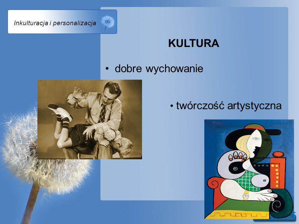 Inkulturacja i personalizacja KULTURA dobre wychowanie twórczość artystyczna