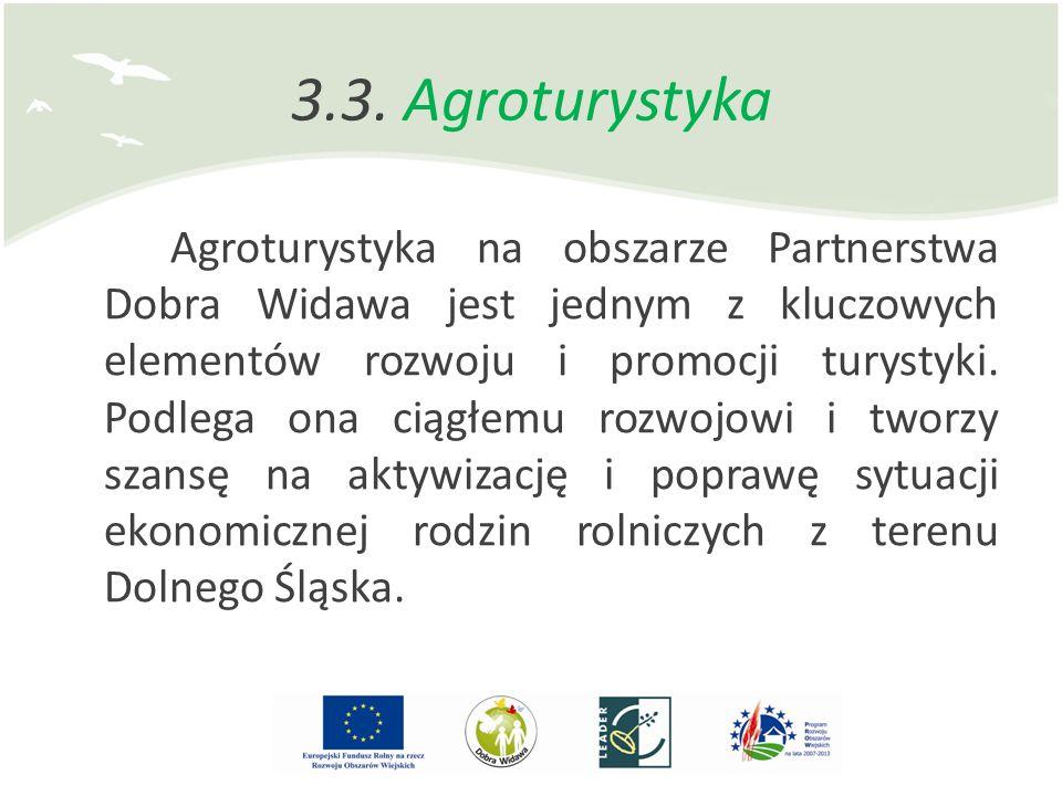 3.3. Agroturystyka Agroturystyka na obszarze Partnerstwa Dobra Widawa jest jednym z kluczowych elementów rozwoju i promocji turystyki. Podlega ona cią