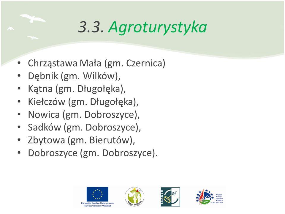 3.3. Agroturystyka Chrząstawa Mała (gm. Czernica) Dębnik (gm. Wilków), Kątna (gm. Długołęka), Kiełczów (gm. Długołęka), Nowica (gm. Dobroszyce), Sadkó