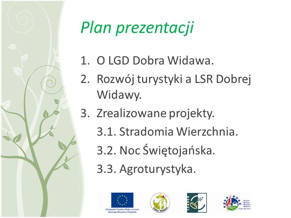 Plan prezentacji 1.O LGD Dobra Widawa. 2.Rozwój turystyki a LSR Dobrej Widawy. 3.Zrealizowane projekty. 3.1. Stradomia Wierzchnia. 3.2. Noc Świętojańs