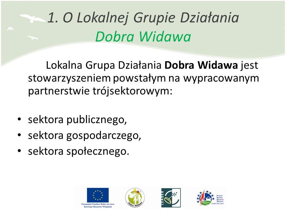 1. O Lokalnej Grupie Działania Dobra Widawa Lokalna Grupa Działania Dobra Widawa jest stowarzyszeniem powstałym na wypracowanym partnerstwie trójsekto