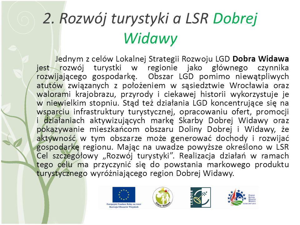 2. Rozwój turystyki a LSR Dobrej Widawy Jednym z celów Lokalnej Strategii Rozwoju LGD Dobra Widawa jest rozwój turystki w regionie jako głównego czynn