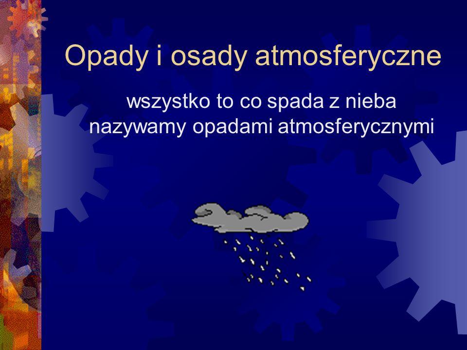 Opady i osady atmosferyczne wszystko to co spada z nieba nazywamy opadami atmosferycznymi