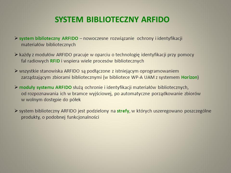 samoobsługowe zwroty – są możliwe dzięki automatycznej wrzucie ARFIDO (wewnętrznej lub zewnętrznej) wrzuta umożliwia użytkownikom na całodobowe oddawanie materiałów bibliotecznych w szybki i łatwy sposób odciąża pracowników biblioteki od dodatkowych czynności związanych z kontrolą i obsługą zwrotów materiałów bibliotecznych drukuje pokwitowania wrzuta obsługuje tylko użytkowników nie zalegających wobec biblioteki z żadnymi opłatami; nie przyjmuje książek których termin zwrotu minął Wrzuta Ekran wrzuty