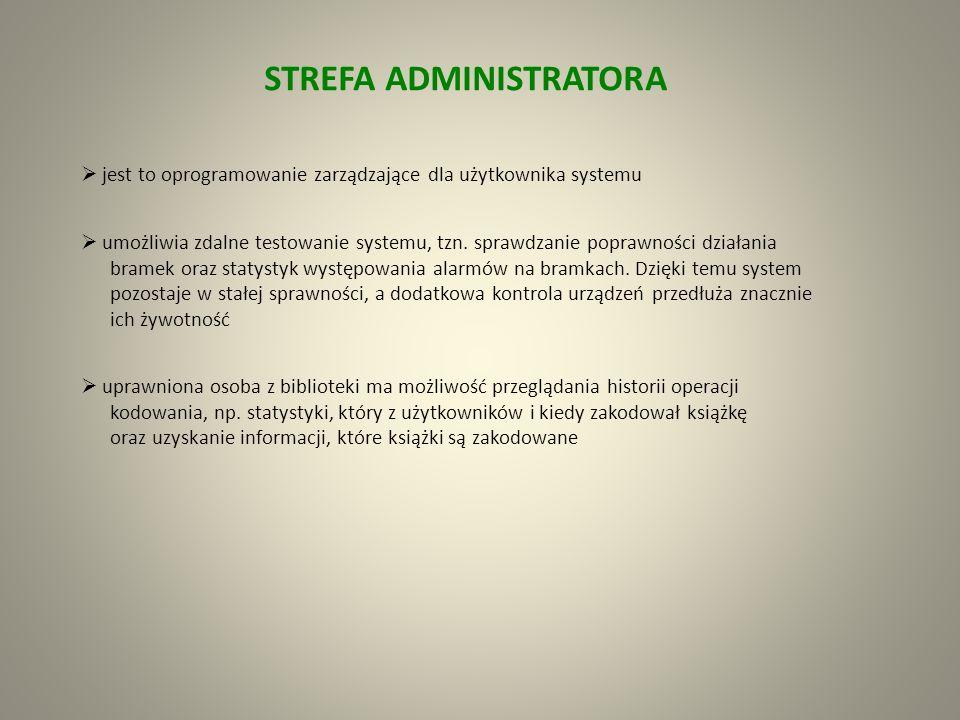 STREFA BIBLIOTEKARZA Usprawnienie procesów bibliotecznych na stanowisku obsługi: identyfikacja czytelnika szybkie wypożyczenia i zwroty kilku książek równocześnie przy wolnym dostępie do półek asystent ARFIDO zarządza i kontroluje zbiory współpraca systemu z elektroniczną legitymacją studencką