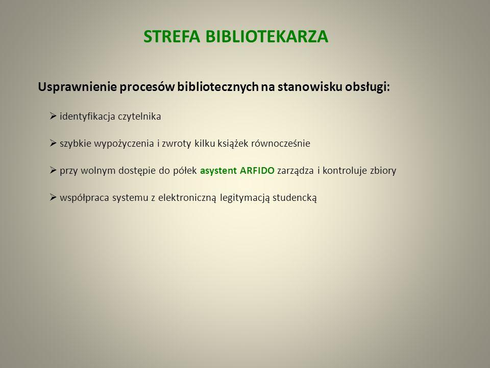 STREFA BEZPIECZEŃSTWA etykiety zabezpieczające RFID bramki wyjściowe RFID chroniące przed niekontrolowanym i bezprawnym wyniesieniem książek Etykieta biblioteczna identyfikuje i chroni książki jest samoprzylepna (biała); dane można odczytywać i zapisywać (read/write możliwość wielokrotnego zapisu i odczytywania informacji); w polu anteny można odczytywać wiele etykiet jednocześnie (antykolizyjność) wyposażona w chip pamięci (gwarancja na chip 10 lat lub 100 000 przeprogramowań etykiety), z którego można odczytywać informację za pomocą fal radiowych zwiększa funkcjonalność wszystkich procesów bibliotecznych zastępuje tradycyjny kod kreskowy oraz pasek magnetyczny (pojemność pamięci: 1024 bitów; rozmiar min.